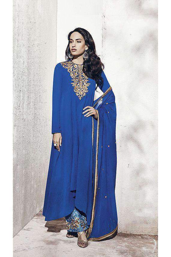 Blue Color Georgette Fabric Salwar Suit -Lawn Suits, Pakistani Lawn Suits, Anarkali suit, Vardhita sarees, Designer Suit