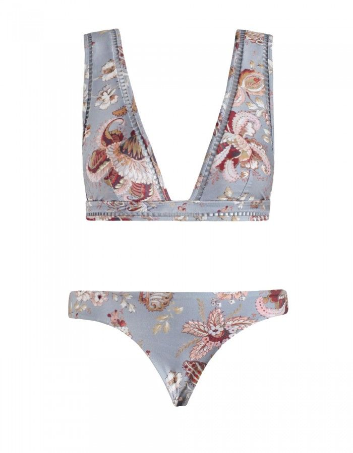 Pavilion Ladder Bikini, from our Summer Swim 16 collection, in Floral printed lycra with white ladder insert trim through neckline and underbust band. Low, skinny pant.