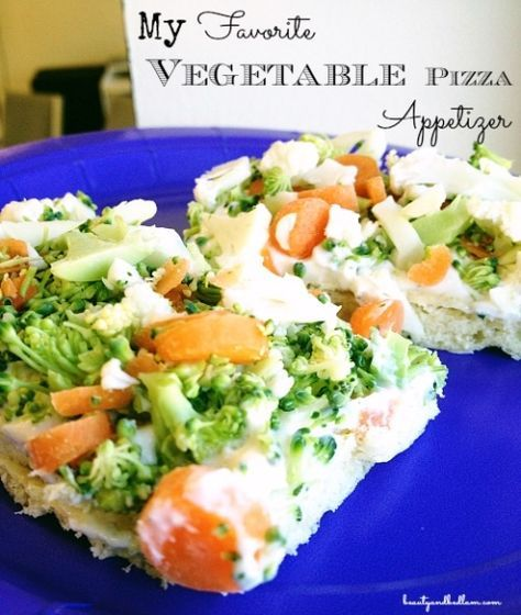 Served on crescent roll dough, this is my favorite Vegetable Pizza Appetizer