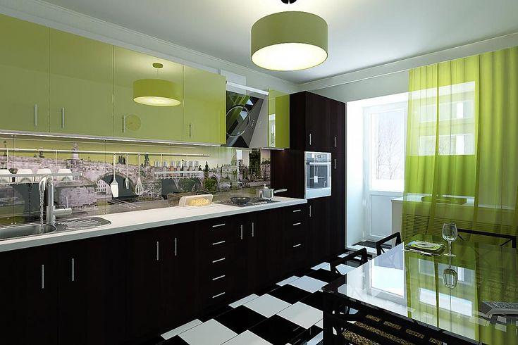 интерьер черно-зеленой кухни