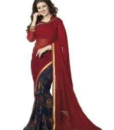 Buy Red and Dark Blue printed georgette saree with blouse printed-saree online