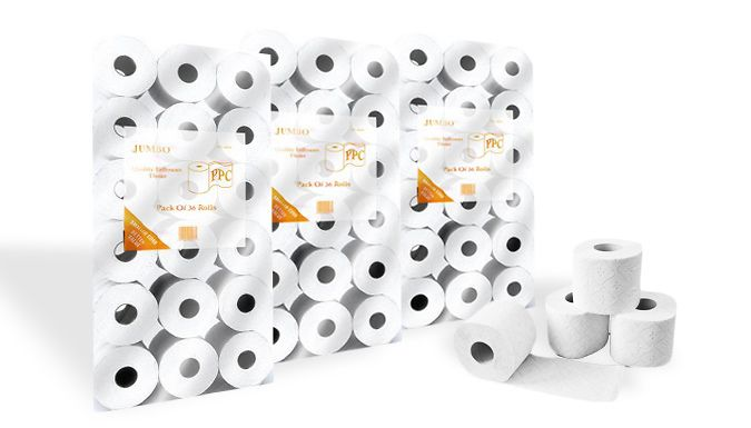 Buy 2-Ply Jumbo Quilted Toilet Paper - 144 Rolls UK deal for just: £19.00 Keep your bathroom supplied with 144 2-Ply Jumbo Quilted Toilet Paper rolls      4 cases, 36 rolls per case, 18.2m per roll      Made using premium virgin pulp paper (15.5 GSM per Ply)      A great value bumper pack for your home or office      Save 52% on 144 rolls of 2-Ply Jumbo Quilted Toilet Paper at 19 pound instead of 39.96 pound BUY NOW for just GBP19.00