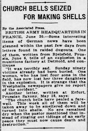 """WWI, 1 July 1917;""""German news gained from letters found in raided dugouts"""" - The Evening Star, Washington"""