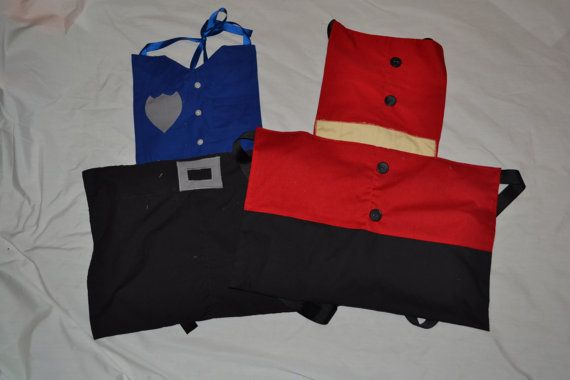 Boys dress up aprons: fireman and policeman