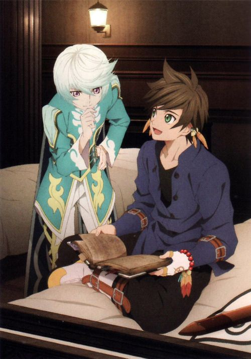 Sorey and Mikleo at the inn!Scanned from the Tales of Zestiria World Guidance book!