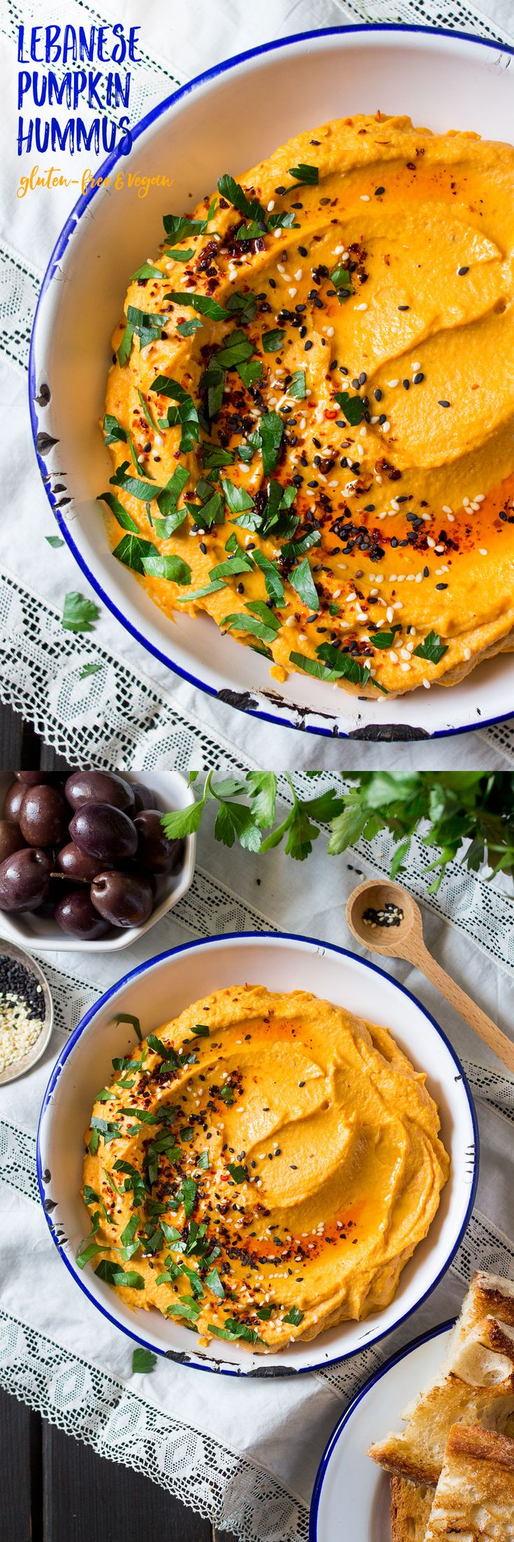 This #lebanese #pumpkin #hummus requires only 6 simple ingredients. It's so smooth and creamy that it's hard to resist and way easier to make than classic hummus too! #recipe #recipes #appetizer #snack #vegan #glutenfree