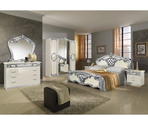 Sara Bedroom Set in Ivory and Silver Lacquer Finish Classic Style Bedroom Set Platform Bed Ivory and Silver High Gloss Lacquer Finish Available In Other Colors Matching Case Goods Are Also Available  Mattress Support  Not Required Made In Italy By MCS Furniture
