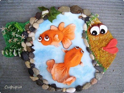 Мастер-класс Поделка изделие День рождения Лепка Рыбки в пруду Гипс Материал природный Тесто соленое фото 1