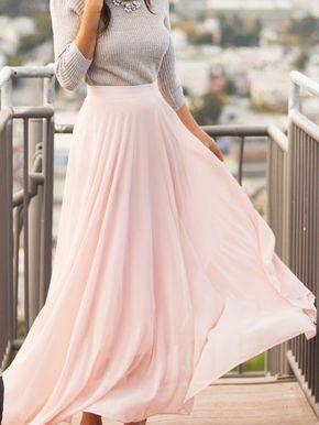 Langer Chiffon Rock, rosa