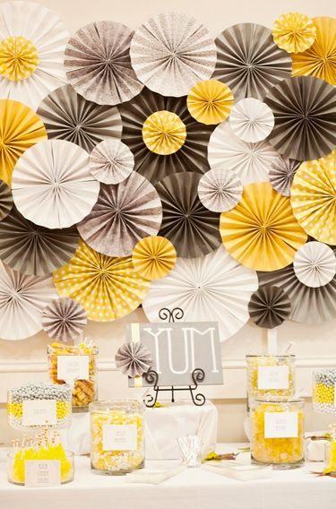 centerpieces, color, deco, decor, decorations, details, gray, lemon, mellow, reception, schemes, table, tables, with, yellow, pinwheel, wedding, theme, wedd