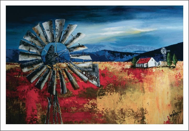 Acrylic landscape with Windmill (windpomp)