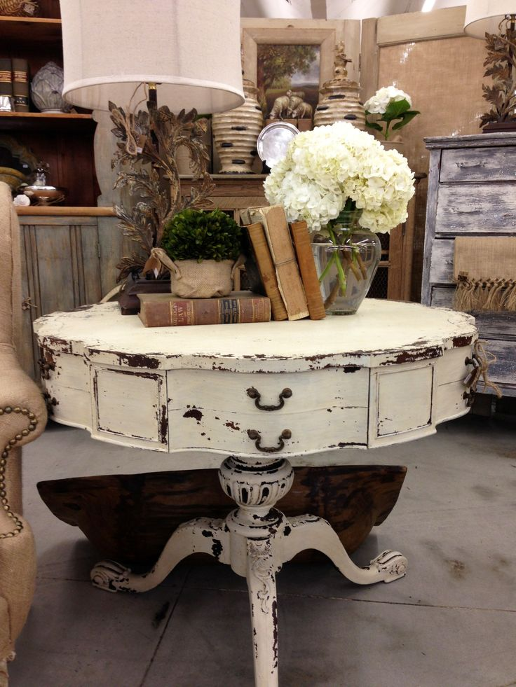 chippy paint drum table home decor shabby chic vintage
