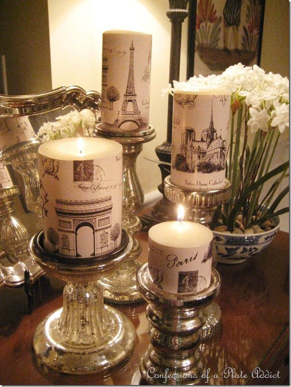 Wrapping paper modpodge candles