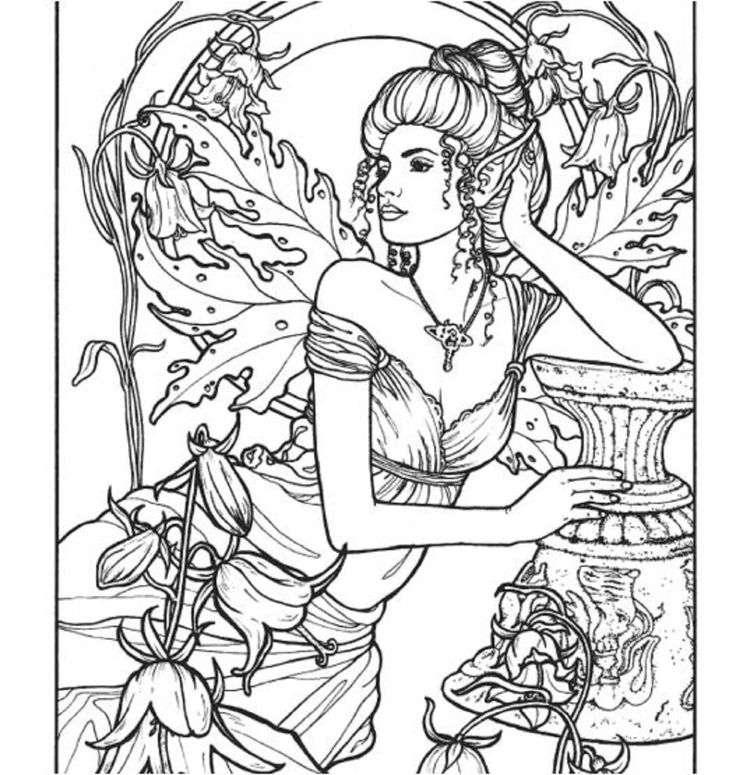 Adults Coloring Book Floral Fairies Designs Stress Relief Patterns Relax Fun