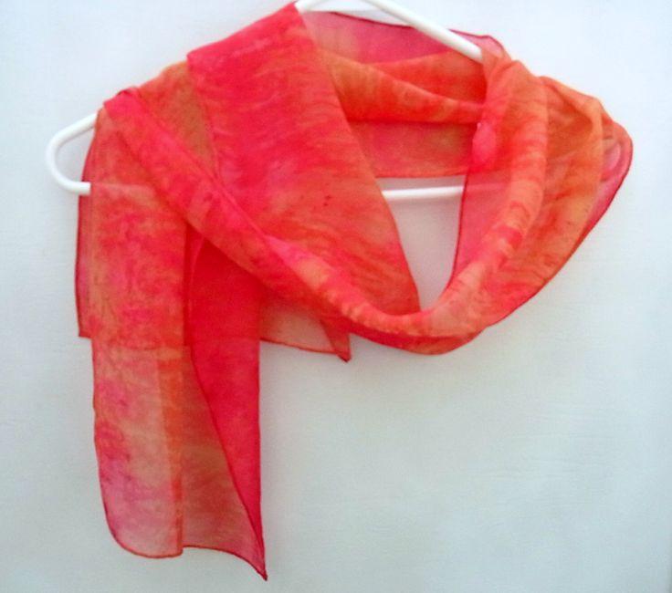 Hand dyed Silk Scarf,  Silk Chiffon Scarf, 53 x 10 inches, Ready to Ship, Made in Australia by SallyAnnesSilks on Etsy S113 by SallyAnnesSilks on Etsy https://www.etsy.com/au/listing/290736685/hand-dyed-silk-scarf-silk-chiffon-scarf