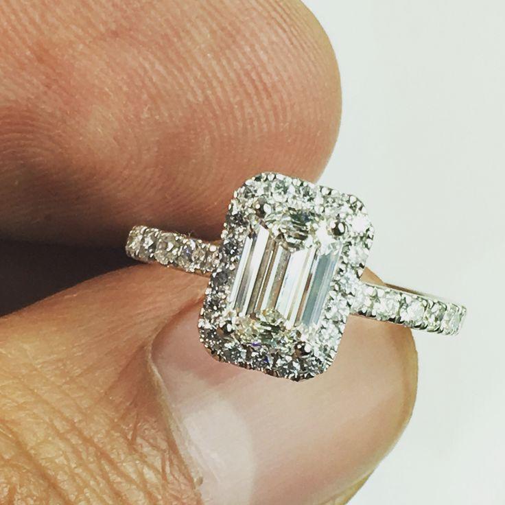 Emerald cut halo engagement ring!