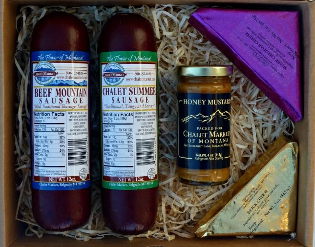 Chalet Market Cowboy Gift Box.  Smoked sausages, cheese and honey mustard!  Delicious!  Made in Montana.