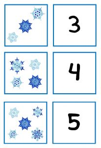 Winter memory. Or have multiple pictures of the same number and have children put in the correct column