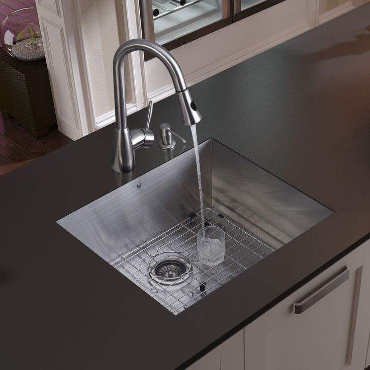 """23"""" x 20"""" Undermount Kitchen Sink with Faucet, Grid, Strainer and Dispenser"""