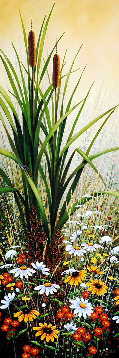 """""""Cattails in the Morning Mist"""" 36"""" x 12"""" Acrylic on Canvas by Jordan Hicks"""
