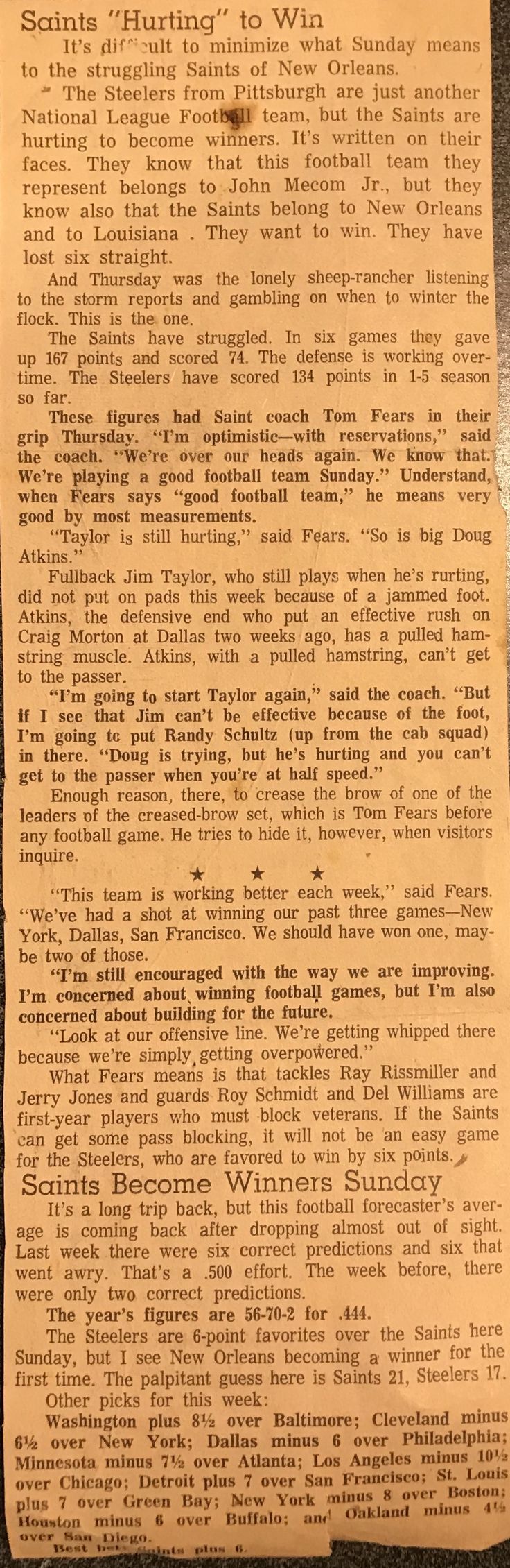 1967 article about Saints Schultz, National football
