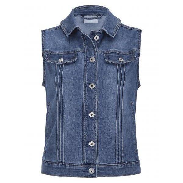 Trinity Sleeveless Denim Jacket ($61) ❤ liked on Polyvore featuring outerwear, jackets, jean jacket, blue denim jacket, blue sleeveless jacket, sleeveless jacket and no sleeve jacket