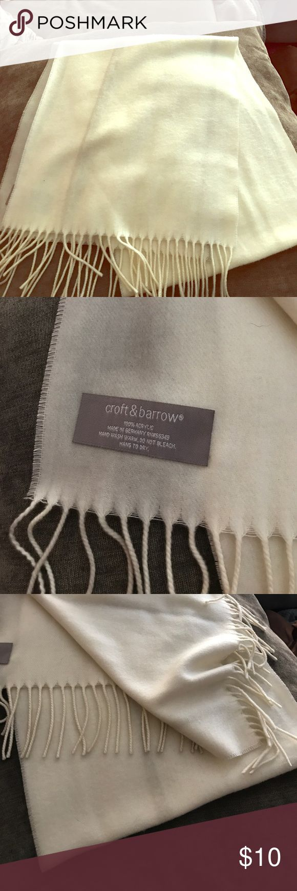 Insanely soft cream scarf NWOT, never been worn cream scarf with fringe details. So so soft. croft & barrow Accessories Scarves & Wraps