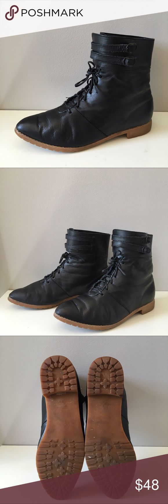 Leather ROC Booties Awesome lace up booties. Double buckle detail. 100% upper. Rubber bottom. Leather laces. Broken in and super comfy. Rock them with jeans or a dress. Look awesome with leggings and tights. NYTT Shoes Ankle Boots & Booties