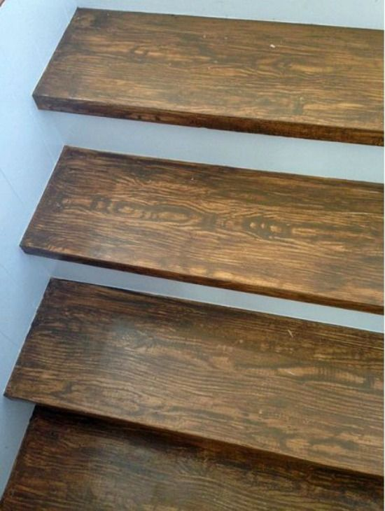 Faux wood grain stair treads things i like pinterest crafts the o 39 jays and stairs Cheap wood paint