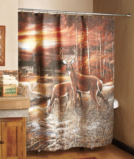 Tranquil Deer Shower Curtain $14.95  **Because what home isn't complete without a fully hunting themed bathroom @Tre Morris... right?**