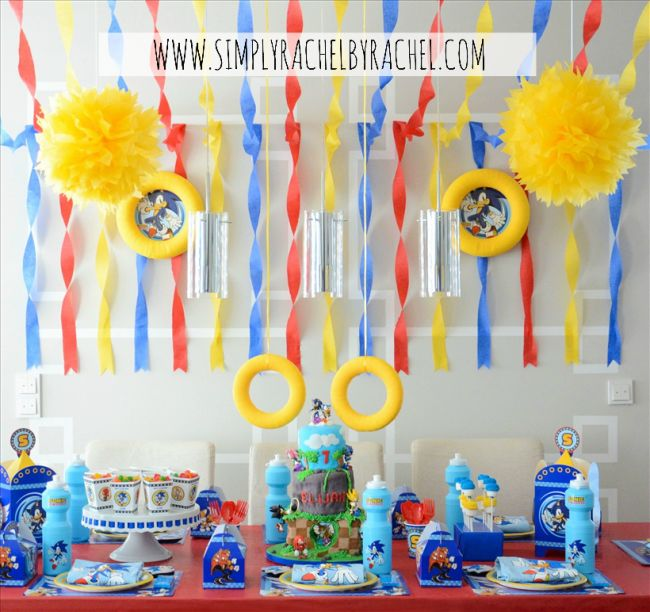 Sonic Hedgehog Birthday Party.  Check out these ADORABLE Sonic themed birthday party ideas!