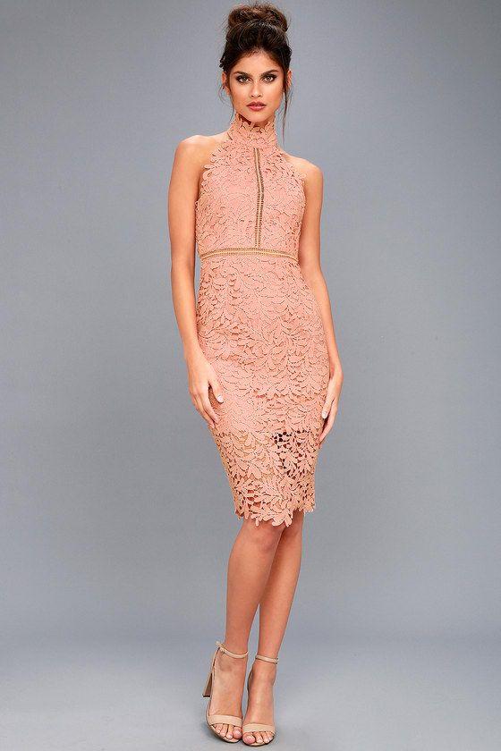 3a720837f2c8e Divine Destiny Blush Lace Midi Dress 2