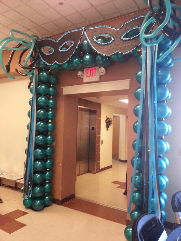 Masquerade balloon arch masquerade theme pinterest for Arch decoration supplies