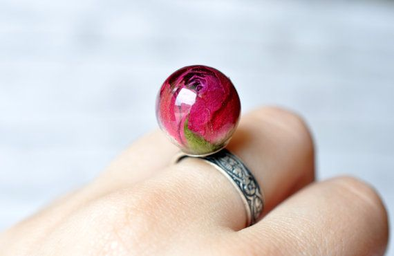 Deep Red Real Rosebud Resin Sphere Ring - Antiqued Silver Statement Resin Ring - Real Rosebud Ring - Resin Jewelry - Adjustable Silver Ring