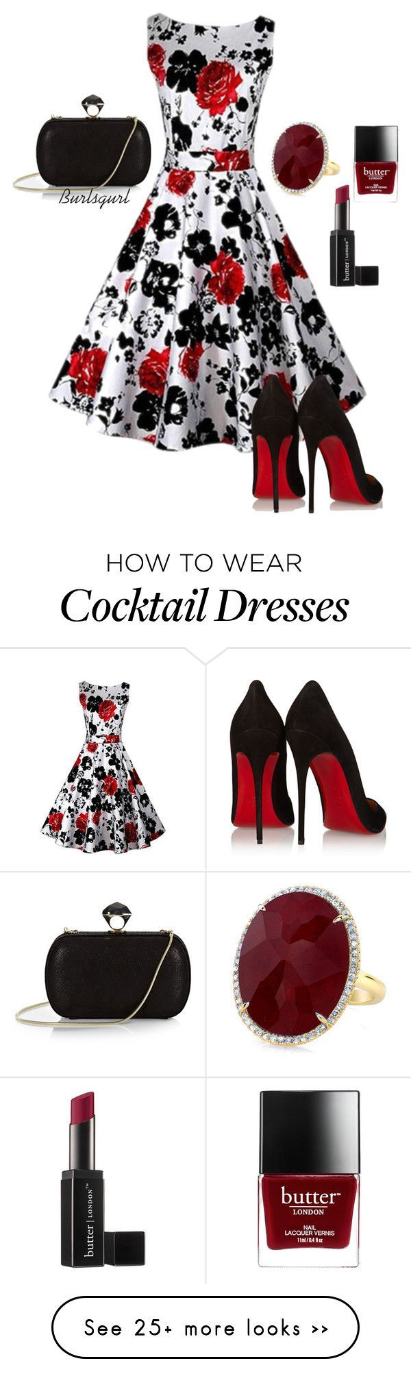 """Ruby"" by burlsgurl on Polyvore featuring Christian Louboutin, DVF and Butter London"