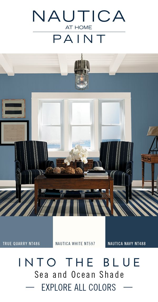 Designer Paint Color Tip: Layer tones of the same color throughout a space for a rich, sophisticated look. Use bold paint colors on the walls, then mimic that hue in a lighter or darker shade in pillows, furniture, and other home decor accents. The Nautica at Home Into the Blue paint collection includes an endless sea of blue paint colors which you can incorporate into a space for a cohesive look that celebrates a passion for the water.