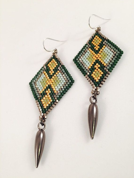 Green Flora Seed Bead Earrings by Calisi on Etsy