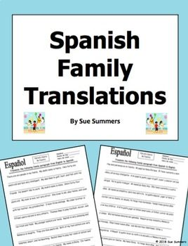 Spanish Family Translation English to Spanish and Spanish to English by Sue Summers - La Familia