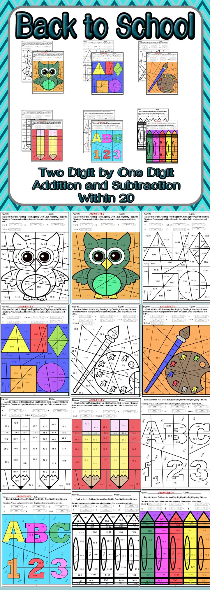 Practice adding and subtracting two digit by one digit numbers with these 6 mystery picture activities. Just in time for the start of school, these worksheets provide students a fun way to review adding and subtracting. Students will solve the equations and then color the picture based on the answers. This packet contains: -2 adding two digit by one digit mystery picture worksheets -2 subtracting two digit by one digit mystery picture worksheets -2 adding and subtracting two digit by one…