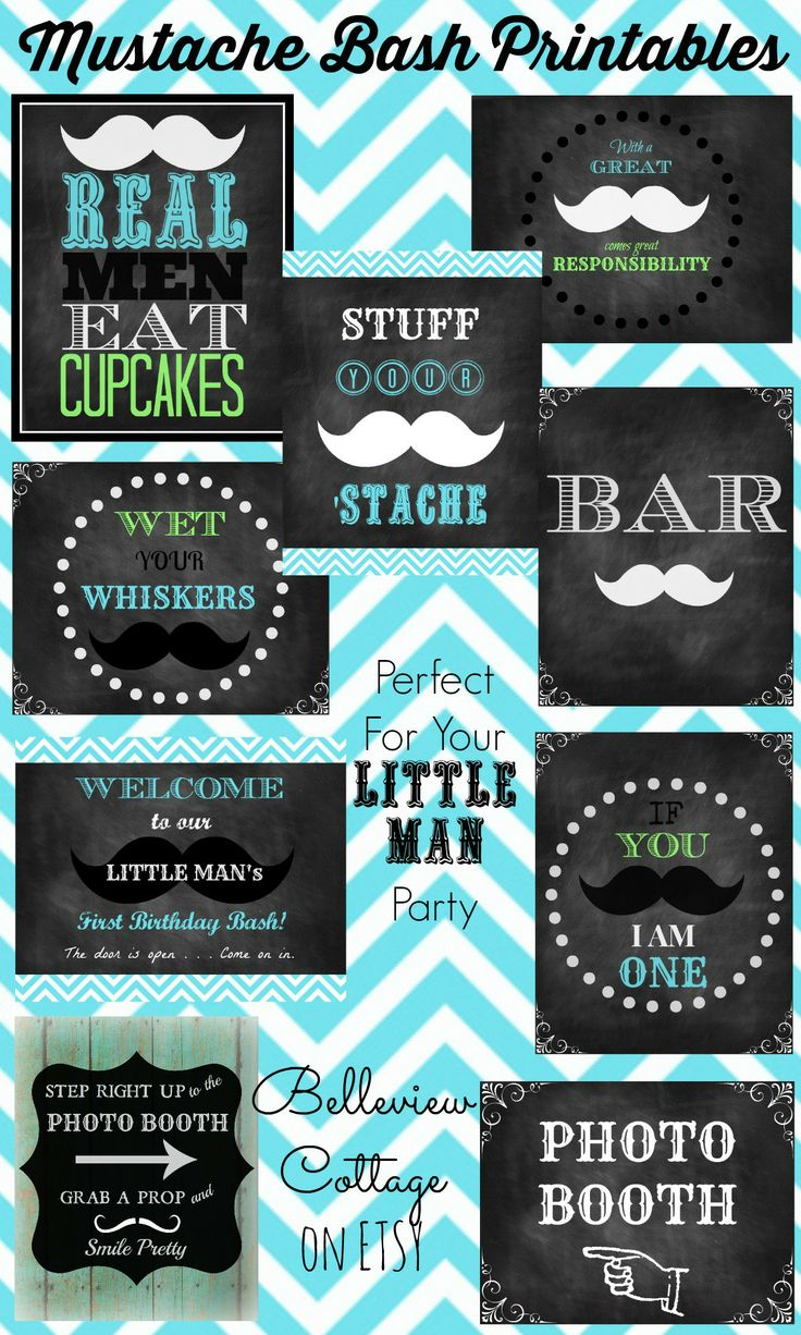 Check out these cute mustache printables! Perfect for a Mustache Bash or Little Man Party. Belleview Cottage on Etsy.