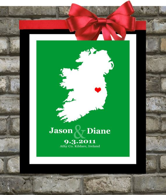 1 Map Wedding Art Gift For Wife Him Her Celtic Custom Print Names Date Quote Anniversary Fiance Husband