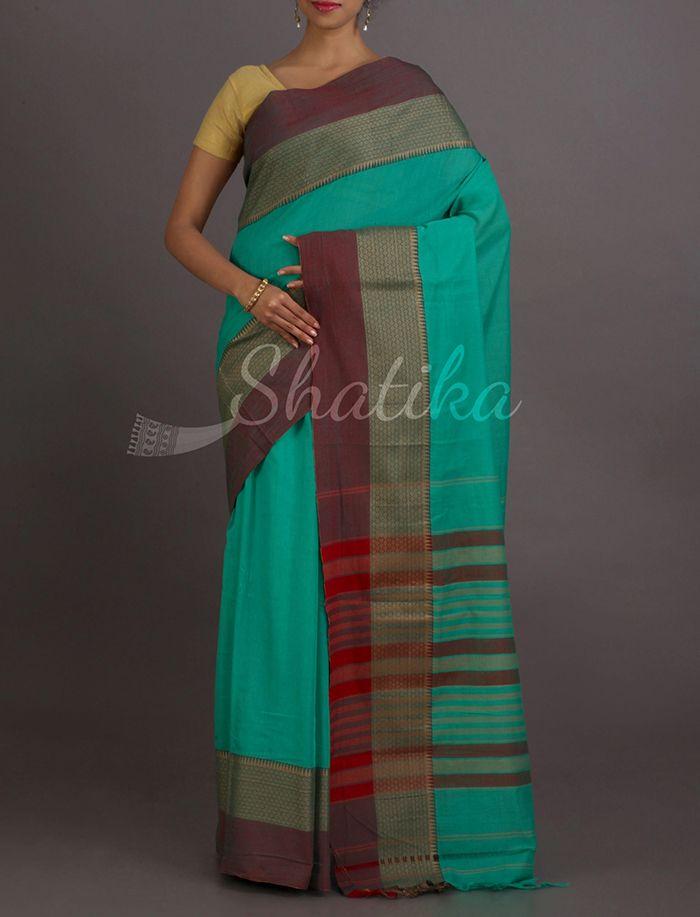Latika Blue And Maroon Stripe Splendor Narayanpet Pure Cotton Saree