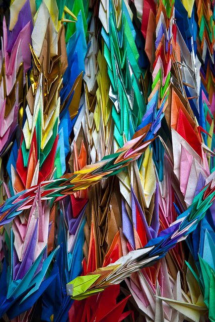 Japanese 1000 origami cranes -Senbazuru-: Senbazuru is a string of a thousand paper cranes. It is usually sent to a person who is ill or injured as a prayer for recovery. The crane is symbolic of happiness and long life in Japan.