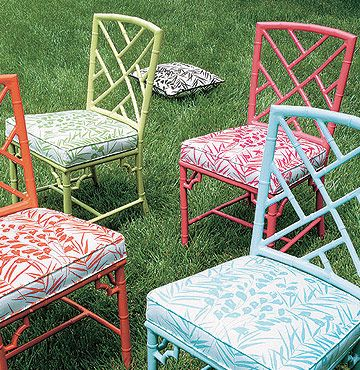 Chinese Chippendale painted chairs with spiffy fabric