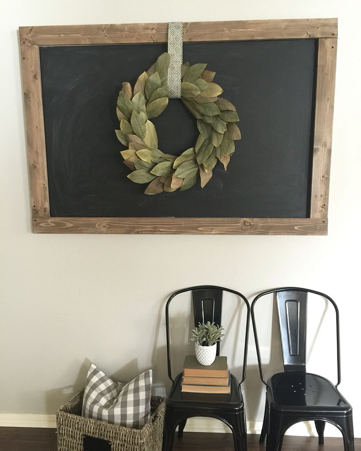 DIY large chalkboard and magnolia wreath