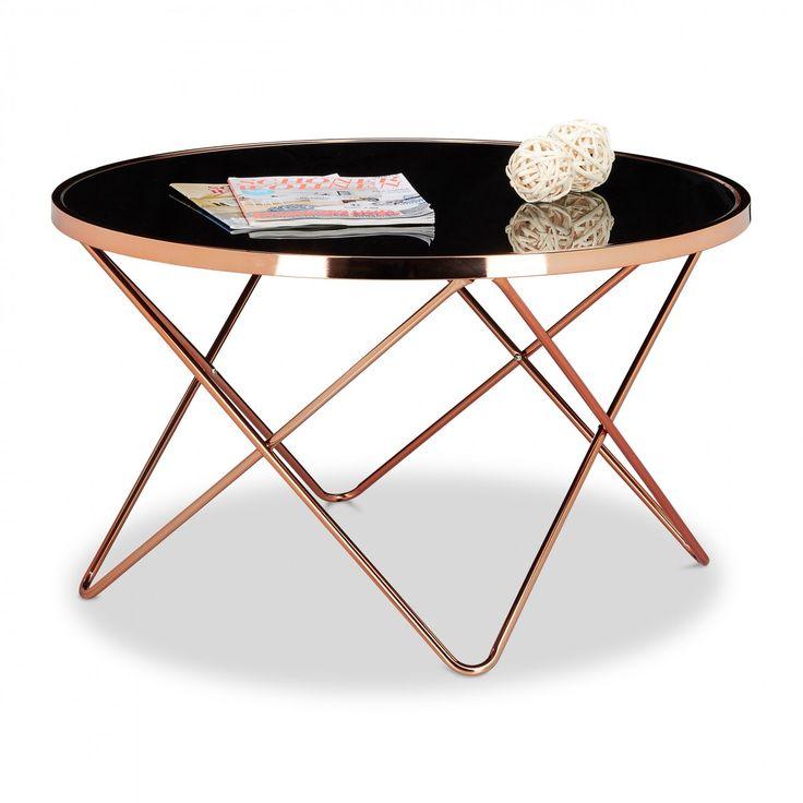 COPPER grote salontafel metaal koper patina, tafelblad van zwart glas