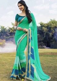 Casual Wear  Georgette Mint Printed Saree