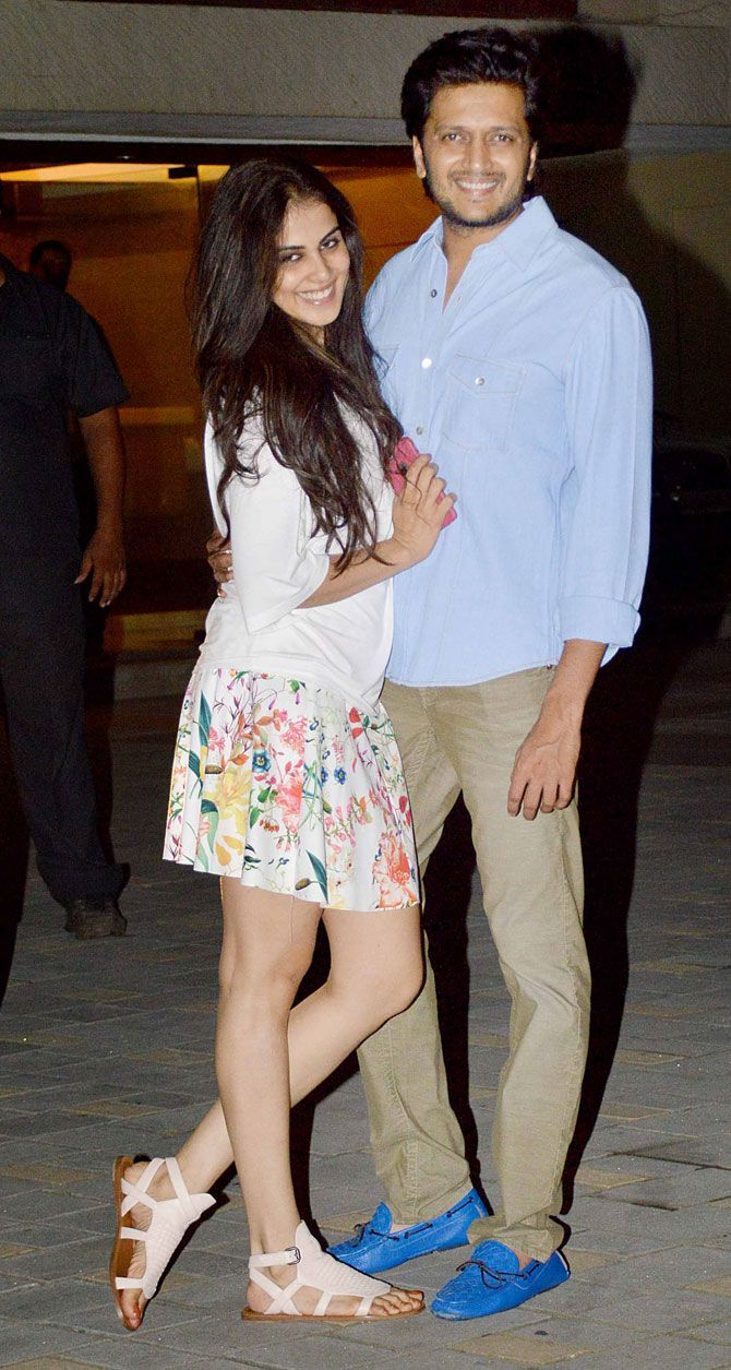 Riteish Deshmukh and Genelia D'Souza Deshmukh at Arpita Khan's birthday bash. #Bollywood #Fashion #Style #Beauty #Handsome