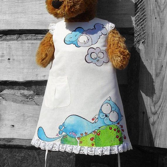 Bambini del vestito bianco vestito - solo ordine ON - estate abbigliamento - mio piccolo gatto - ragazza lino rustico Abito vestito ragazza - gatto blu - dipinto