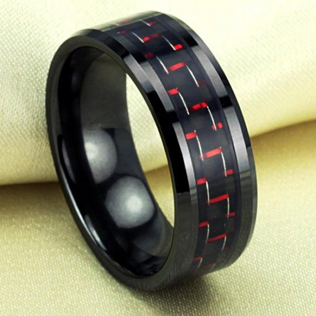 Men's Black Carbon Element Ceramic Ring